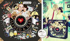 Regalo de bodas: Ilustración personalizada en formato maxi-reloj
