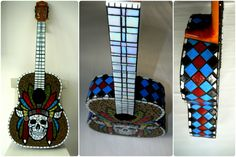 Items similar to Guitar decorated with glass mosaics / Decorated mosaic guitar for custom orders on Etsy Mosaic Art, Mosaic Glass, Mosaics, Skull Decor, Mosaic Designs, Wall Art, Musical Instruments, Unique Jewelry, Guitars