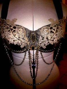 Custom Order Tribal Fusion Bra with Victorian lace applique, Swarovski crystals, Vintage gems and oodles of Vintage glass Japan pearls