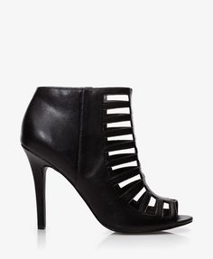 47 best higher heights images on pinterest shoes heels heels and Silver Heels black faux leather cutout booties featuring a stiletto heel zipper placket along the inner side