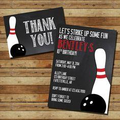 Bowling Birthday Party -- Birthday Party Invitation, Thank You Card (digital file) Chalkboard