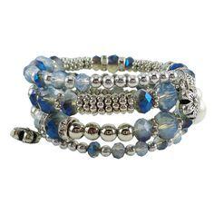 Memory Wire Wrap Bangle Blue/Silver