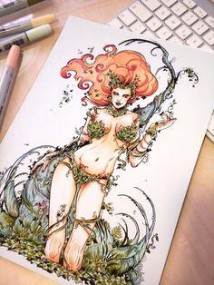 Laura Braga - Commission - Poison Ivy (For commissions request contact me at laura.braga@laurabraga.com or laurabraga.art@gmail.com)