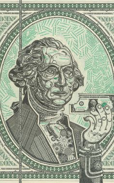 A Portrait Of The Guy On Your Dollar Bill, Made Out Of Dollar Bills | Co.Design | business + design