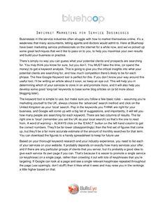 Internet Marketing for Service Businesses by BullsEye Internet Marketing via Slideshare