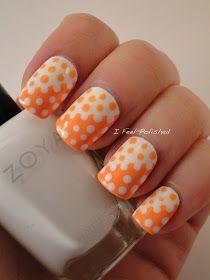 Orange and White Interlocking Dotticure Nail Art