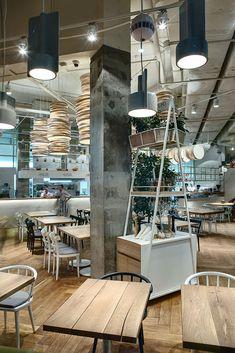 Democratic Italian restaurant Tartufo trattoria, made by YOD, Lviv, Ukraine