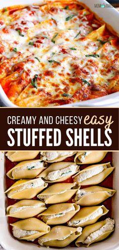 Easy Stuffed Shells, Jumbo Pasta Shells, Stuffed Shells Recipe, Seafood Recipes, Vegetarian Recipes, Cooking Recipes, Easy Recipes, Chicken Recipes, Healthy Recipes