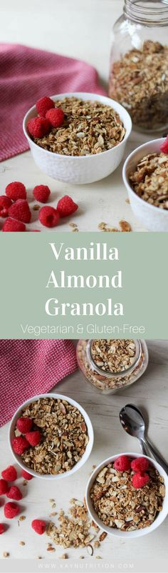 This homemade Vanilla Almond Granola is gluten-free and super simple to prepare, making it a staple breakfast in any household or tasty afternoon snack.