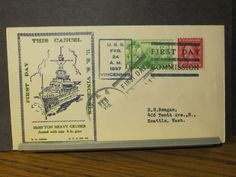 USS VINCENNES CA-44 Naval Cover 1937 ANNIS COMMISSIONED Cachet SUNK WWII