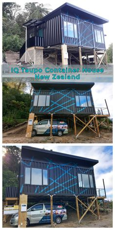 The IQ Taupo is a 2 bed container home comprised of new shipping containers connected in parallel. Tiny Container House, Cargo Container Homes, Container Buildings, Container Store, Modern Prefab Homes, Modular Homes, Modern Cabins, Shipping Container Design, Shipping Containers