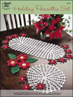Crochet - Christmas Patterns - Kitchen Decor Patterns - Holiday Poinsettia Set
