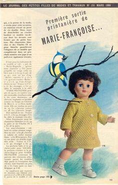PAR AMOUR DES POUPEES :: M&T 1966-03 manteau pour Marie-Françoise (tricot)
