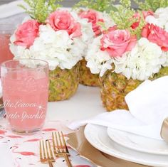 Parties! Pineapple floral arrangements and kate spade flamingo placemats
