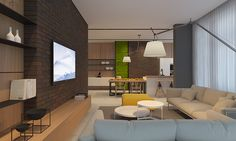 Modern brick home interior