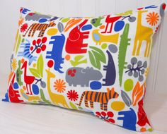 Nursery Pillow Cover - Day at the zoo