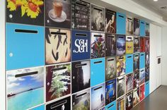 Making a locker wall fun and personal. Personalising lockers does just that and shows Staff Lockers, Staff Room, Ceiling Detail, Environmental Graphics, Break Room, Photo Wall, Reception, Challenges, Faces
