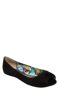 Serina Black Peep Toe Flats (Wide Width) #mytorridsummer