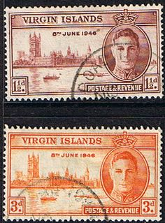 British Virgin Islands 1946 King George VI Victory Set Fine Used SG 122 3 Scott 88 9 Other West Indies and British Commonwealth Stamps HERE!