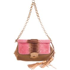 Pre-owned Prada Tessuto & Python Frame Bag ($360) ❤ liked on Polyvore featuring bags, handbags, brown, shoulder handbags, woven purses, prada purses, frame bag and brown handbags
