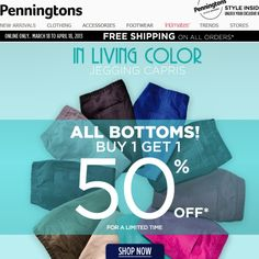 Deal Alert (CDN): Penningtons  All Bottoms Buy 1 Get 1 50% Off. Limited Time. Happy Shopping! #deal #alert #canada #penningtons #shopping #plussize #budget #bottoms #pants #fashion #clothing #budget
