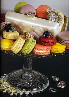 Chanel clutch and macarons