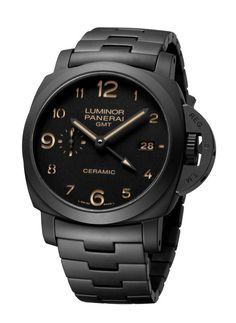"""Panerai Tuttonero Luminor 1950 3 Days GMT Automatic Ceramica. """"Tuttonero"""" is the Italian word for """"all black."""" The watch, which is limited to 500 pieces, carries a U.S. retail price of $16,300."""