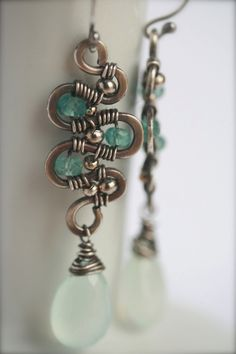 Chalcedony Wire Wrapped Dangle earrings with by FlowSilverJewelry, $49.95
