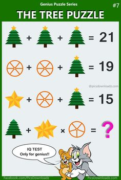 Solve this latest logic math puzzle that will leave you scratching your head. fail to answer this puzzle. The Tree Puzzle, Math IQ Test - Only for genius brain teasers math puzzle with the correct answer. The Tree Puzzle solution! Math Riddles With Answers, Puzzles And Answers, Quiz With Answers, Brain Teasers With Answers, Word Riddles, Tricky Riddles, Math Logic Puzzles, Mind Puzzles, Math Puzzles Brain Teasers