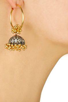 Antique finish zircons jhumkis hoop earrings by Art Karat. Shop now: http://www.perniaspopupshop.com/designers/art-karat #earrings #artkarat #shopnow #perniaspopupshop