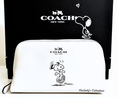 COACH X Peanuts SNOOPY Limited Edition White Calf Leather Cosmetic Bag Case NWT #Coach #CosmeticBags