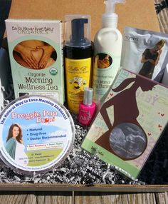 1st trimester BumpBundle pregnancy subscription box, a surprise care package of goodies for mom-to-be. A recent box included tea and lozenges for morning sickness and nausea relief, a sonogram frame, pregnancy safe nail polish, body butter for moms growing belly, prenatal smoothie mix, and pregnancy safe face wash!