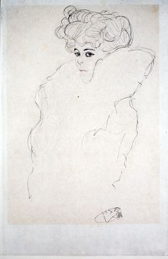 Study for Woman in a Boa, 1919, Gustav Klimt.
