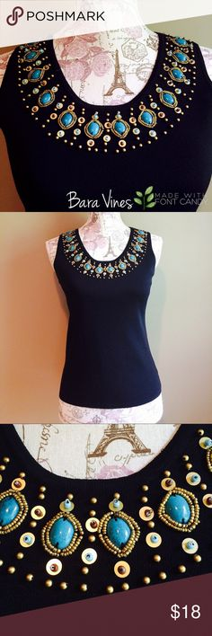 ✨JOSEPH A TANK TOP✨ ✨Joseph A Tank Top in black with gorgeous turquoise and gold beading around front collar.      Size: Large.                                                                65% viscose, 35% nylon.                                          No trades💖 Joseph A Tops Tank Tops