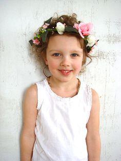 Girl flower crown wedding head piece rose hair by RainbowMittens