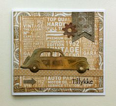 Card with car & gears - Marianne classic cars die - MFT stars & gears - Authentique paper pad - Durable collection