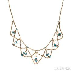 Antique Gold, Turquoise, and Pearl Festoon Necklace