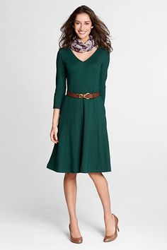 Women's 3/4-sleeve Drapey Ponté V-neck Dress from Lands' End.