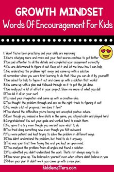 25 words of encouragement for kids to help them develop a growth mindset. It's important that we encourage a growth mindset in children because kids with a growth mindset are better able to face life's challenges. Social Emotional Learning, Social Skills, Parenting Advice, Kids And Parenting, Parenting Styles, Parenting Websites, Parenting Books, Single Parenting, Parenting Quotes