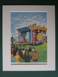 Original 1957 Print Of The BBC Childrens Caravan - Mobile Road Show - Clown - Festival - Television - 1950s - Matted - TV