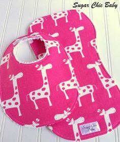 Baby Girl Bib & Burp Cloth Set   Triple Layer by SugarChicBaby, $16.50