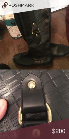 Burberry tall boots Very cute Burberry tall black boots if you can not tell from the pictures this is beautiful Italian leather! with gold detailing, the price is so low due to some damage from a pet but still wearable! Zipper tab is missing on same boot that has damage but is still able to zip Burberry Shoes Heeled Boots