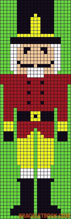 Christmas nutcracker pattern / chart for cross stitch, knitting, knotting, beading, weaving, pixel art, and other crafting projects.