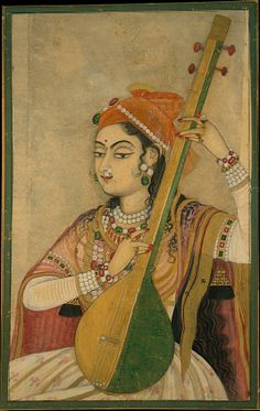 """A lady playing the tanpura"", ca. 1735, India (Rajasthan, Kishangarh) - PInterest"