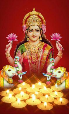 The lotus symbolizes the fertile growth of organic life, as the world is continually reborn on a lotus growing out of Vishnu's navel. Lakshmi Images, Krishna Images, Indian Gods, Indian Art, Friday Wishes, Money Magic, Lord Balaji, Diwali Greetings, Goddess Lakshmi