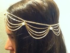 Gold Head Piece. $30.00, via Etsy.  https://www.etsy.com/listing/106867371/gold-head-piece