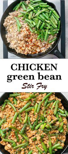 Recipes With Ground Chicken, Ground Chicken Chili, Ground Chicken Burgers, Chicken Green Beans, Easy Chicken And Rice, Asian Chicken Recipes, Chicken Pasta Recipes, Chinese Recipes, Thai Recipes
