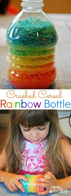 "Crushed Cereal Rainbow Bottle - We crushed Fruity Pebbles to make some ""sand"" for this fun project.  #PebblesBTS #PMedia #Ad"