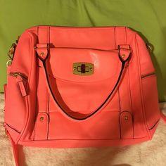 bb400cbe76 Merona Hot Coral Handbag with Removable Crossbody