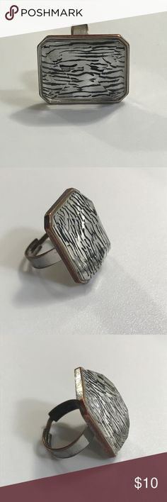 💖 Resizable Zebra Print Gem Silver Tone Ring This is a super fun ring with zebra under the rectangle gem-cut face. Ring is silver tone. Resizable. The back of the ring is tarnished, but the front is so funky and fun!   Smoke-free home. Offers welcome. Jewelry Rings
